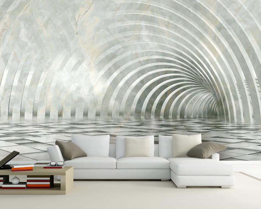 Three dimensional marble 3D living room TV backdrop space mural 3d ...