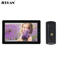 JERUAN 9 дюймов сенсорный ключ видеодомофон дверь домофон Системы комплект черный монитор Металлический Мини Камера Бесплатная доставка