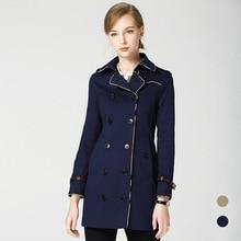 купить High quality 100% cotton slim fit Trench coat women england style double breasted Windbreaker coat autumn Wind coat D340 дешево