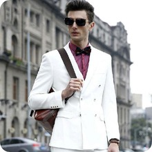 White Men Suits Prom Suits Men Wedding Suit Double Breasted Prom Party Custom Made Groom Tuxedos Slim Fit Terno Masculino 2Piece wedding boy s suits double breasted suit page boy party prom suits custom made 2 piece set