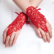 2019 White Ivory Red Short Wedding Gloves Wrist Length Finge