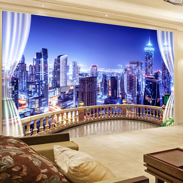Online Shop Custom 3D Photo Wallpaper Window City Night View Large