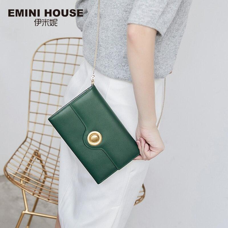 Эмини дом из натуральной кожи, с цепочкой сумка кольцевой замок Женский мешок плечевая сумка Длинные Кошельки Crossbody сумки для Для женщин