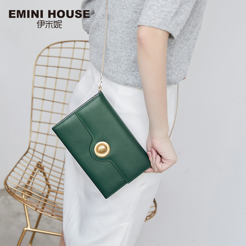 EMINI HOUSE Genuine Leather Chain Bag Ring Lock Flap Bag Women Shoulder Bags Clutch Long Wallets Crossbody Bags For WomenEMINI HOUSE Genuine Leather Chain Bag Ring Lock Flap Bag Women Shoulder Bags Clutch Long Wallets Crossbody Bags For Women