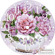 5d diy алмазная живопись фиолетовый цветок настенные часы икона розы Алмазная вышивка Стразы Мозаика Украшение