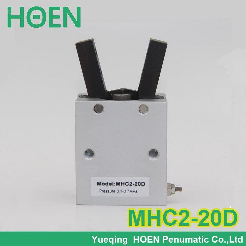 все цены на High quality double acting pneumatic robot gripper air cylinder MHC2-20D angular style aluminium clamps онлайн