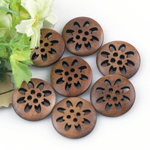 Brand 25PCs 23mm Coffee Color Wooden Buttons Sewing Snowflake Carved 4 Holes Brown Scrapbooking