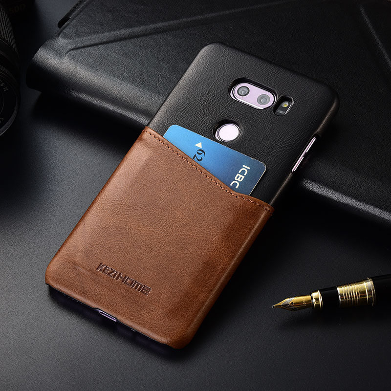 Case for LG V30 V30+ Plus KEZiHOME Two Colors Genuine Leather Hard Back Cover For LG V35 v30s with Card PocketCase for LG V30 V30+ Plus KEZiHOME Two Colors Genuine Leather Hard Back Cover For LG V35 v30s with Card Pocket