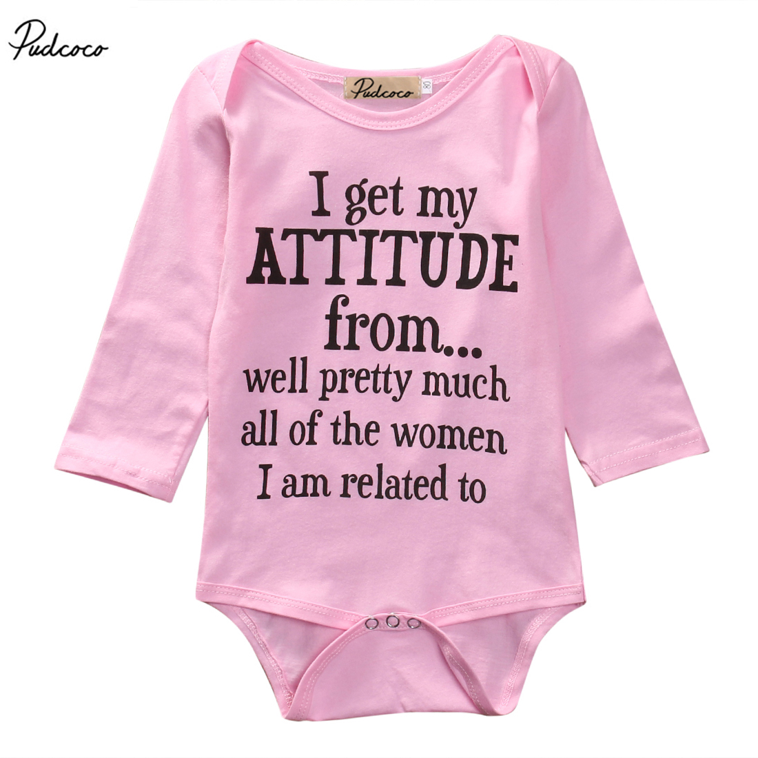 New 2017 Newborn Infant Kids Baby Girls Letter Long Sleeve Pink Romper Jumpsuit Clothes Outfits