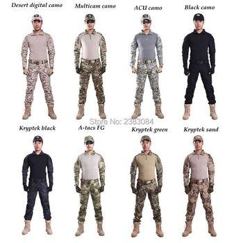 Military Bdu Uniform Tactical Camouflage Combat Clothes Army Sniper Multicam Shirts + Pants Knee Pads Airsoft Men Clothes Suit