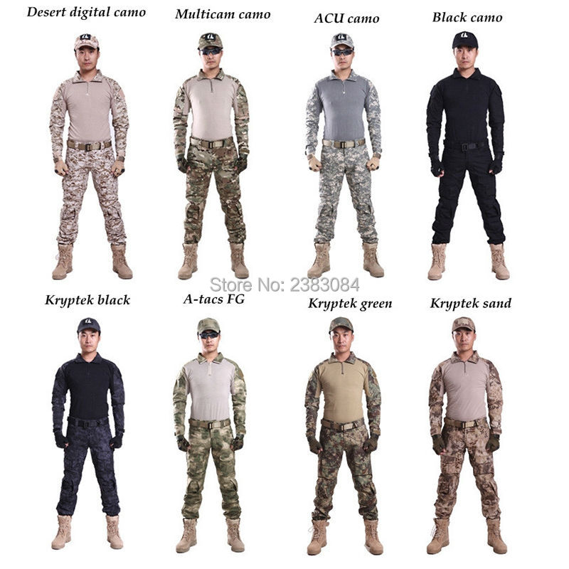 Tactical G3 Uniform Hunting Combat Shirt Cargo With Pants Knee Pads Camouflage Bdu Army Military Men Clothing Set ACU FG BLACK camouflage tactical military clothing paintball army cargo pants combat trousers multicam militar tactical shirt with knee pads