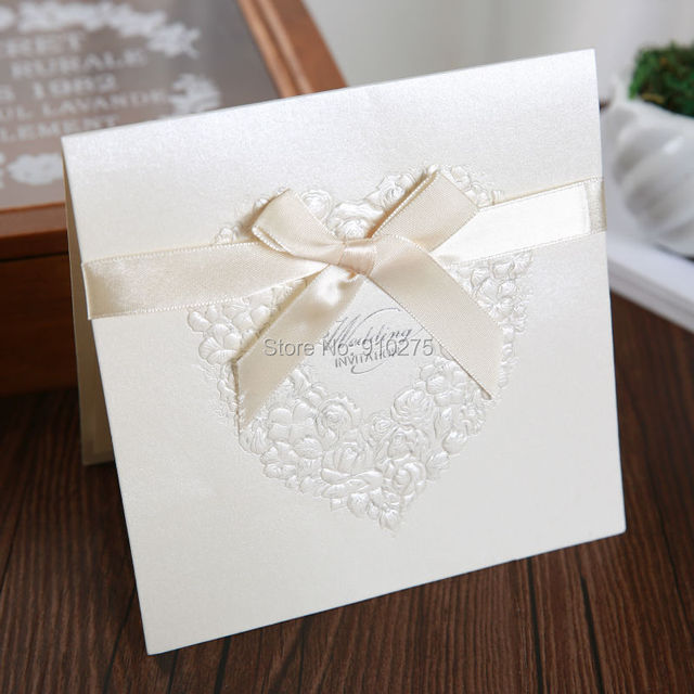 20pcs Laser Cut Love Heart Wedding Invitations Romantic Rose Pattern  Invitation Cards With Bows Wedding Centerpieces