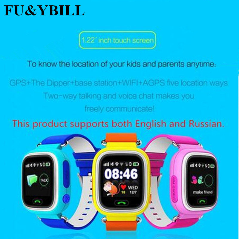 Q90 GPS WIFI Phone Positioning Fashion Children Watch 1.22 Inch Color Touch Screen SOS Q90 Smart Watch PK Q50 Q60 Q80 Q730 Q750