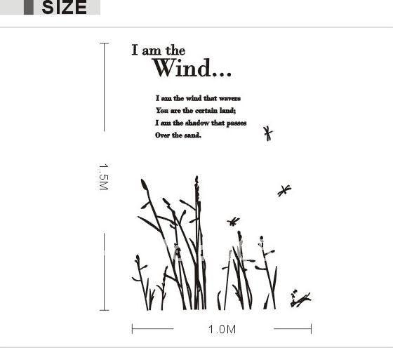 JM7003 I am the Wind English Poem Removable Wall Sticker 1x1.5m ...