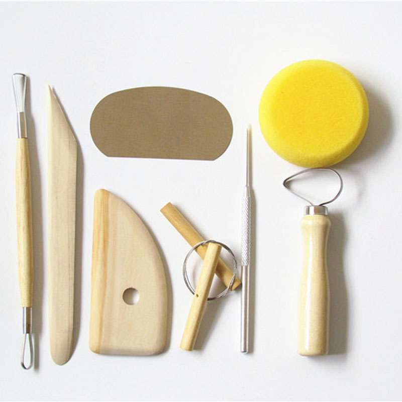 DIY Clay Sculpting Sculpt Smoothing Wax Carving Pottery Ceramic Tools Polymer Shapers Modeling Carved Knife Wood Handle Set