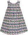 Sunny Fashion платья для девочек вишня Цветок Зеленый Листья Распечатать В полоску