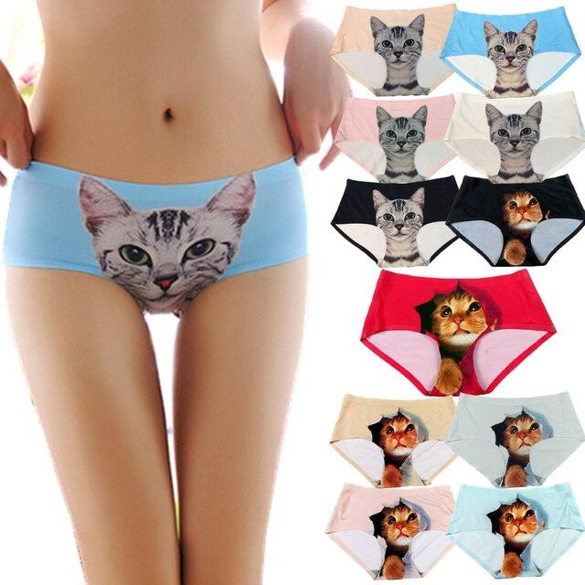 Sexy Pussycat Panties Womens Cat Briefs UK Anti Cat Meow Star Cat Silk  Women Underwear Panty PW9010-005 0ece9e72b