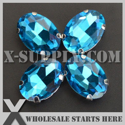 DHL Free Shipping Preset Mounted Crystal Rhinestone Oval 13x18mm <font><b>Aquamarine</b></font> in NICKEL Sew on Setting for Bag,Shoe,<font><b>Jeans</b></font>
