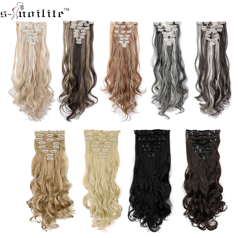 SNOILITE 24inch 170g Long Curly 18 Clips i False Hair Styling Syntetiska Hårförlängningar Hairpiece 8st / set Soft Natrual Black