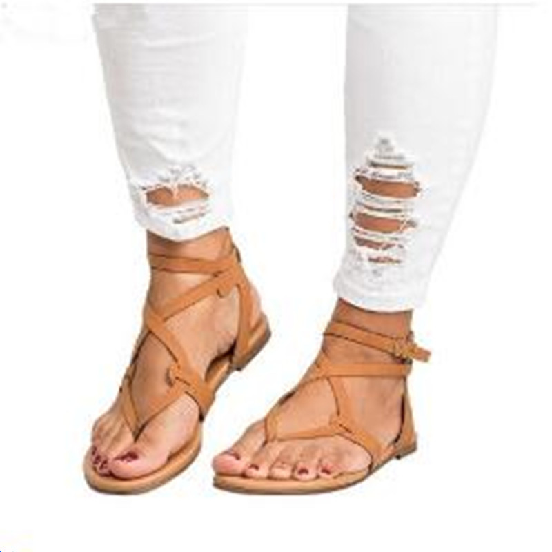 2018 Shoes Woman Bandage Summer Female Casual Low Heels Ankle Strap Women Sandals Mujer Sandalias Flip Flops Size 35-43 women sandals fashion low heels sandals for summer shoes woman ankle strap flats sandals shoes soft bottom casual shoes 35 44