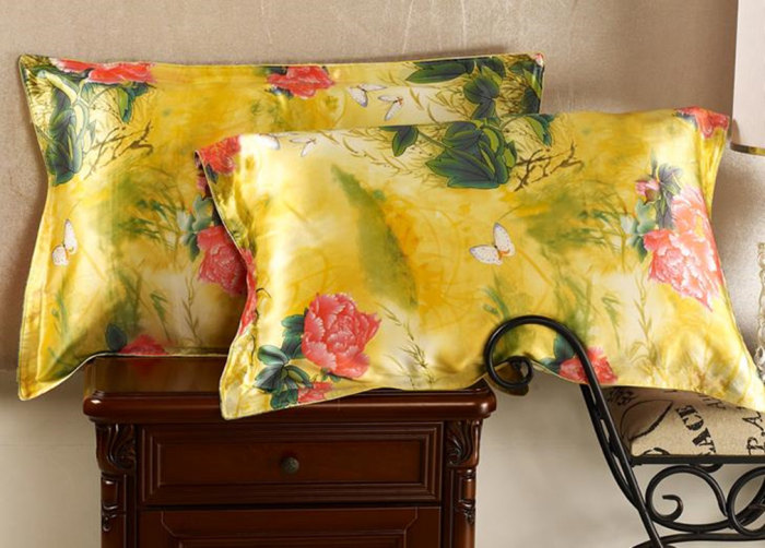 ᗕNew free shipping 40% pure silk oxford pillowcase floral printed Cool Envelope Back Pillow Cover