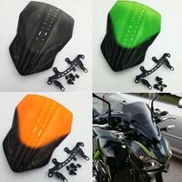 For Kawasaki Z900 Z 900 2017 2018 Motorcycle Bike Windshield WindScreen Double Smoke Black Bubble Windscreen With support frame