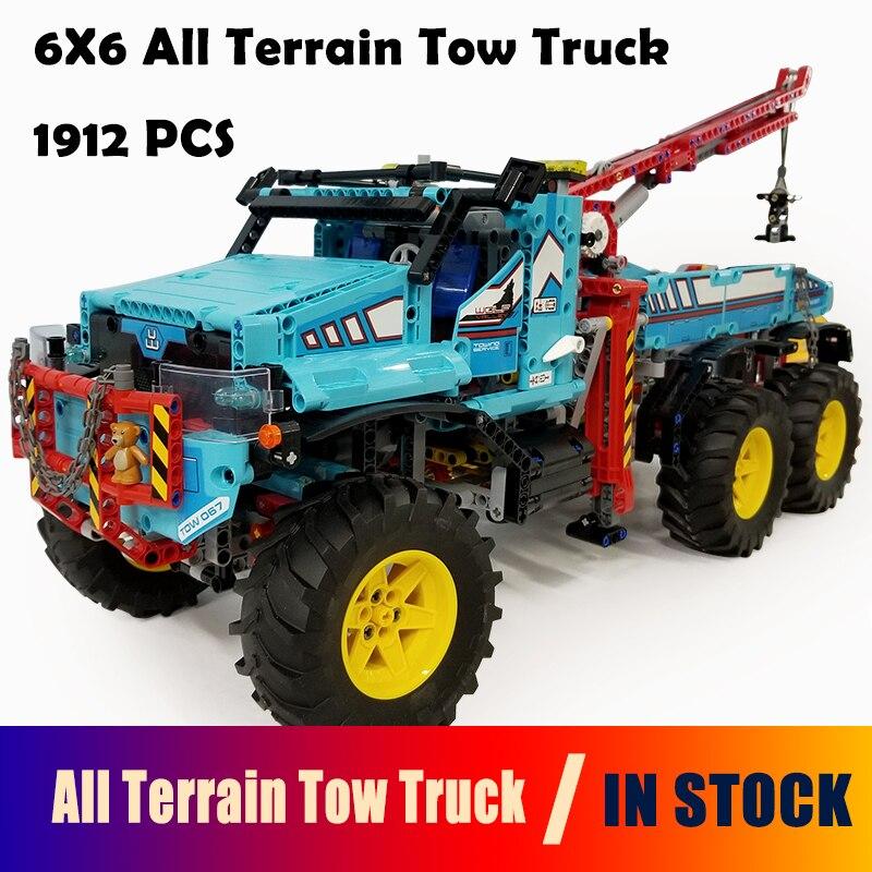 Model Building Blocks toys 20056 1912Pcs 6X6 All Terrain Tow Truck compatible with lego Technic Series 42070 DIY toys & hobbies lego lego technic 42070 лего техник аварийный внедорожник 6х6