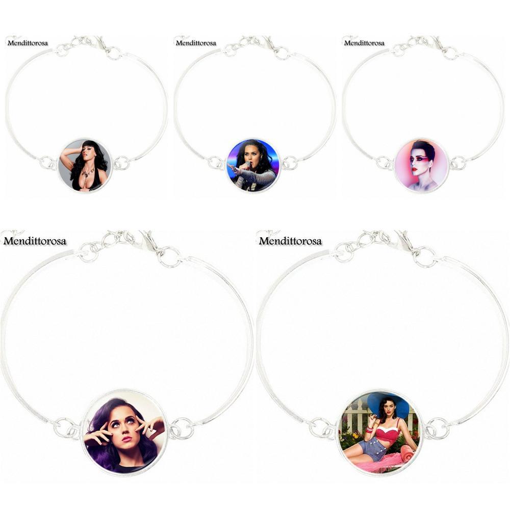Mendittorosa For Women Children Jewelry Classic Glass Cabochon Silver Chain Bracelet Bangle s Fashion Katy Perry