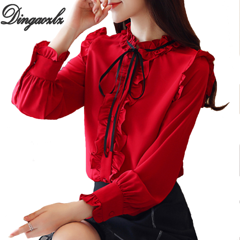 Dingaozlz 2018 Korean New fashion Ruffles Women   shirt   Bow tie Casual Chiffon   blouse     shirt   Elegant Blusa feminina Female Tops