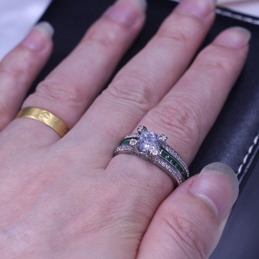 Vecalon feminino jóias de luxo anel de noivado verde aaaaa zircon cz 925 prata esterlina anel de casamento conjunto para mulher - 4