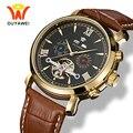 Мужские механические часы Ouyawei  автоматические часы с календарем и золотым кофе  кожаные водонепроницаемые наручные часы