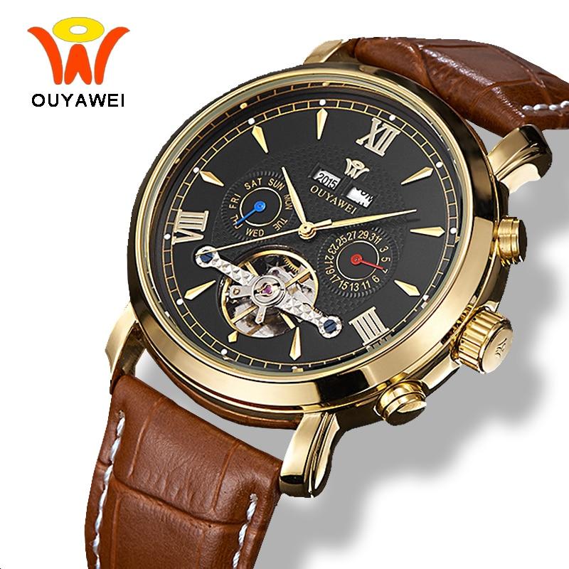 где купить Ouyawei Mens Mechanical Tourbillon Calendar Watches Automatic Self Widing Luxury Gold Coffee Leather Waterproof Wrist Watch Men по лучшей цене