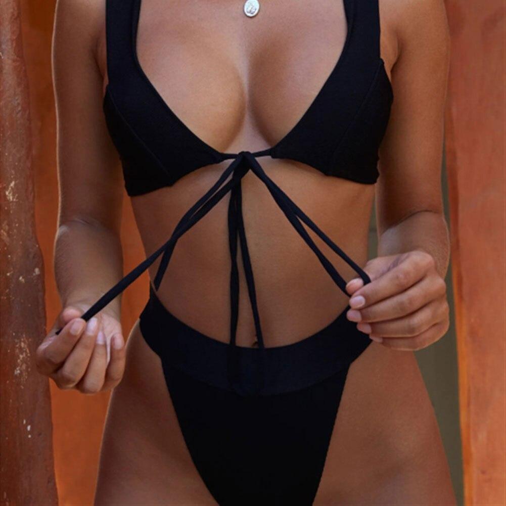 HTB1re1JbovrK1RjSspcq6zzSXXa6 2019 New Style Fashion Hot Solid Women Push-up Bandage Padded Bra Bandage Bikini Set Swimsuit Triangle Swimwear Bathing