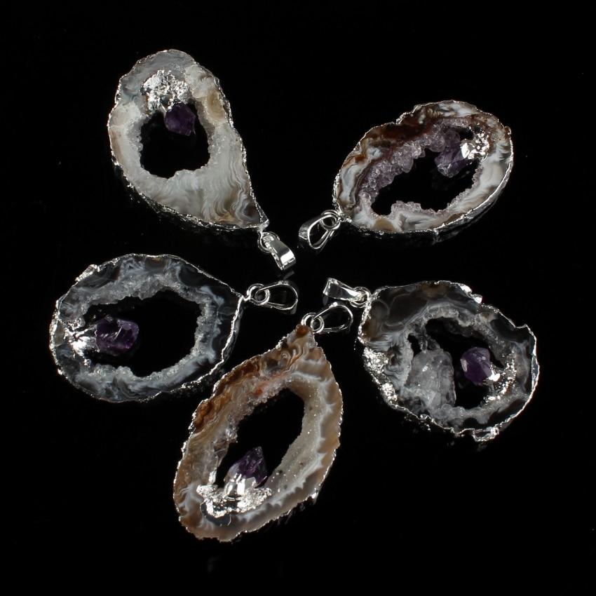 Kraft beads Silver Plated Slice Geode Inlay Purple Amethysts Quartz Irregular Shape Agates Modern Pendant Charm Jewelry in Pendants from Jewelry Accessories