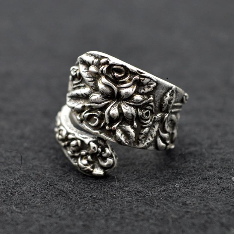 12pcs Medieval Vintage Spoon Rings Jewelry For Women Engraving Flower Adjustable Opening Rings Statement Rings RG42