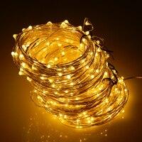 20メートル/30メートル/50メートルシルバーワイヤー200/300/500のledウォームホワイトledストリング光星空ライトクリスマス妖精ライト+アダプター(英国、米国