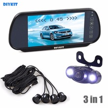 DIYKIT Video Parking Radar four Sensors + 7 inch Construct-in LCD Show Mirror Automobile Monitor + four x LED Night time Imaginative and prescient HD Rear View Digital camera