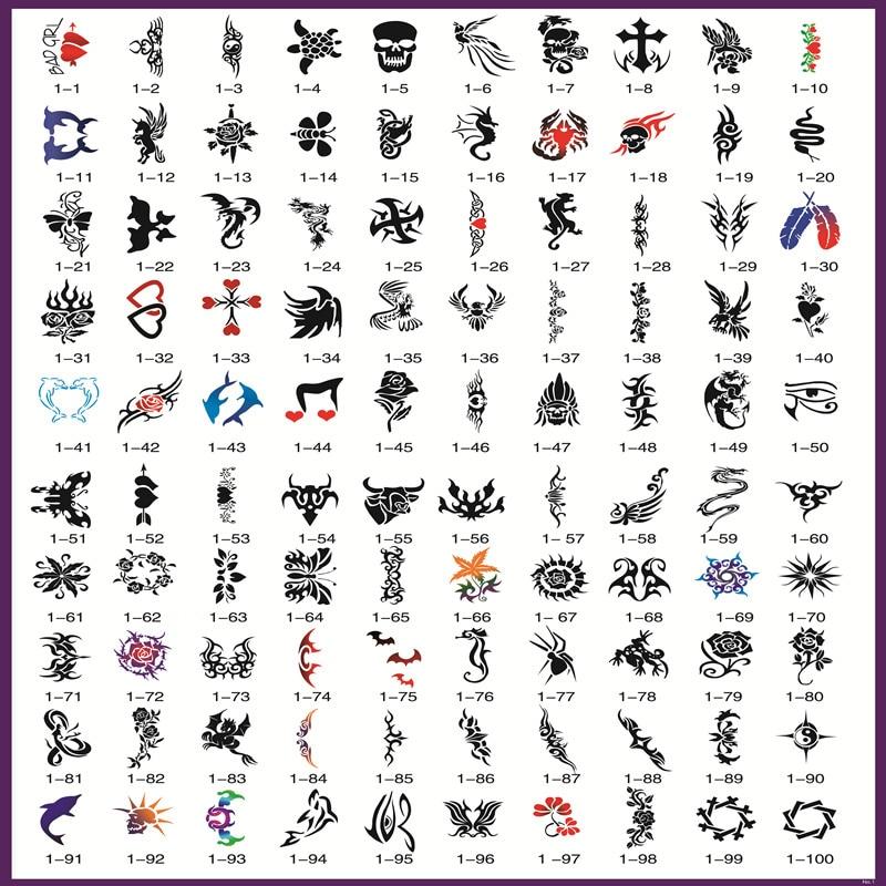 Livre Phoenix d'or 1 pochoirs de tatouage aérographe temporaire pour Art corporel peinture maquillage cosmétiques 100 Designs livraison gratuite