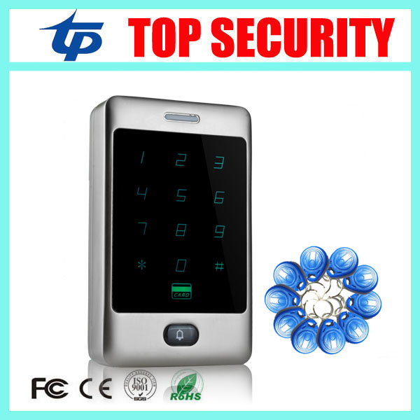 Good quality standalone single door access controller 8000 users metal surface waterproof RFID access control reader system rfid ip65 waterproof access control touch metal keypad standalone 125khz card reader for door access control system 8000 users