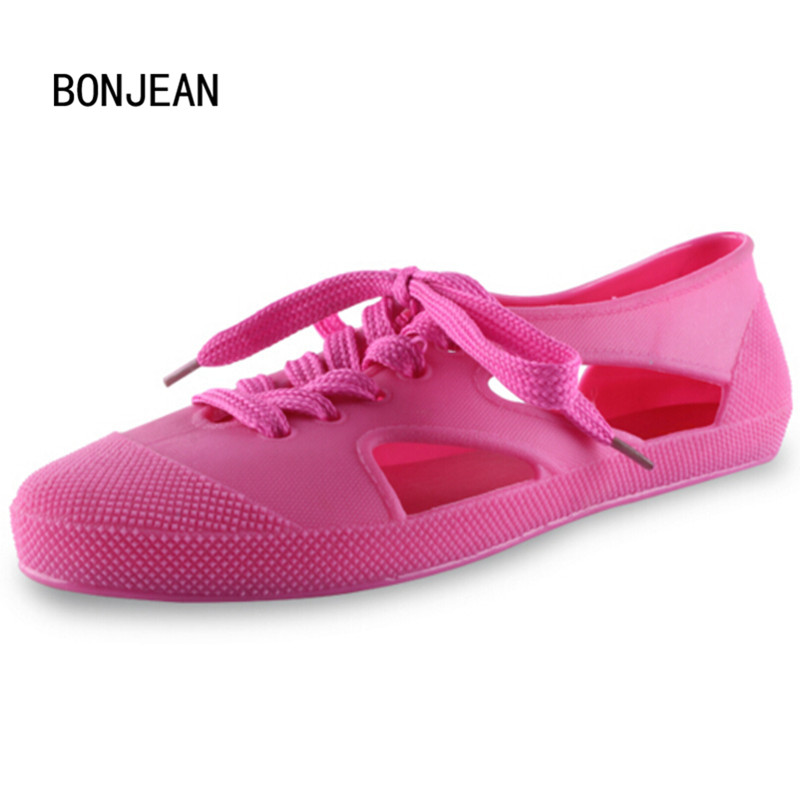 New Sandals Women Rubber Shoes Sandals Summer Cut Out Flats Sandals Fashion Rain Shoes Girls