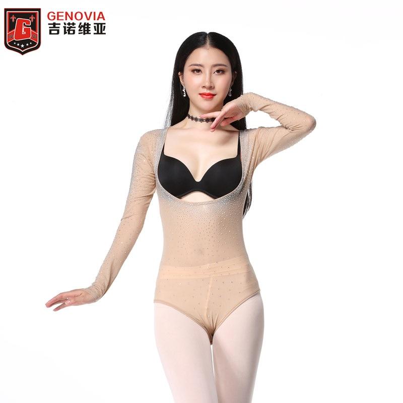 Women Belly Dance Bodysuit Mesh Leotard Open Bust Long Sleeve Top Dancing Clothes Glitter Bottoming Shirt Bellydance Accessories