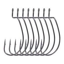 8pcs / bag  3/0# 4/0# Crank Hook Tip Sharp High carbon Steel Single for Soft bait Black Nickle Barbed hook