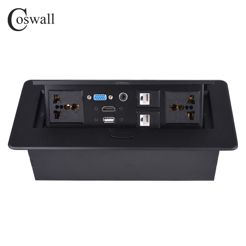 COSWALL métal corps lent POP UP caché 2 prise universelle de courant prise de Table double Port CAT6 RJ45 + HDMI + USB + VGA + 3.5mm Audio - 5