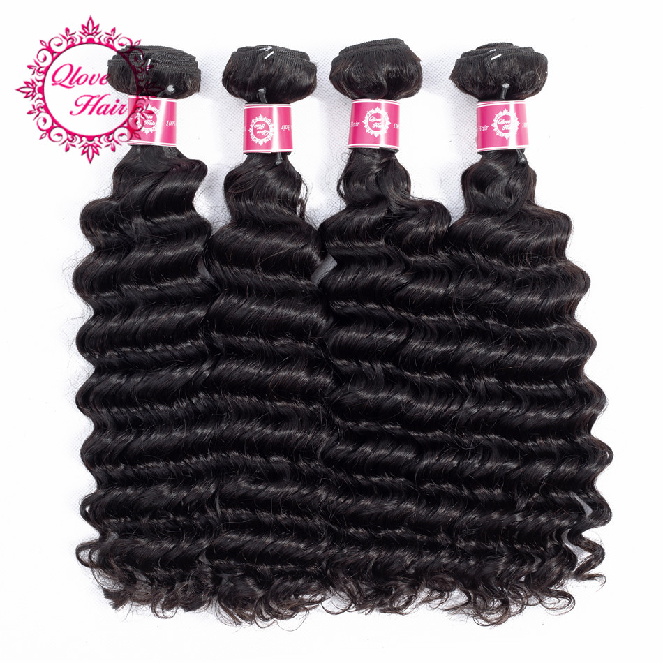 QLove Hair Pre-colored 4 Bundles Deep Wave Indian 100% Human Hair Bundles In Extension Natural Color Non Remy Free Shipping
