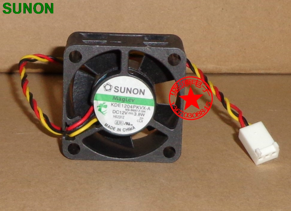 For Sunon 4020 40mm X 40mm X 20mm KDE1204PKVX-A Maglev Cooler Cooling Fan 12V 3.8W 3Wire 3Pin Connector For  Router 4CM