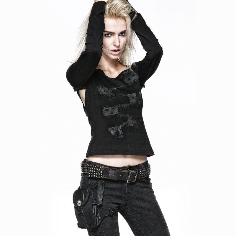 Femmes mode gothique imprimé recadrée t shirt automne noir Streetwear Sexy haut court Punk retour Crochet t shirt hauts courts Fmale