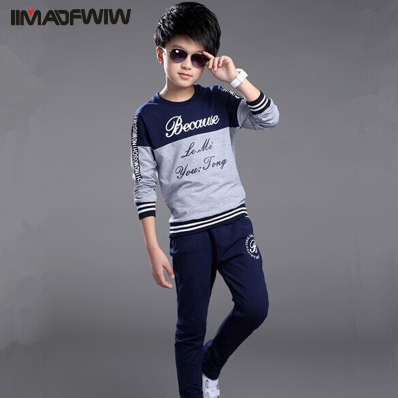 Boy Children's Clothes Clothing Set Sport Suits Long Sleeve O-neck Words Printed Autumn & Spring Twinset Set Male 120-160 elegant jewel neck long sleeve faux twinset design blouse for women
