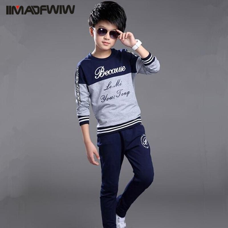 Boy Children's Clothes Clothing Set Sport Suits Long Sleeve O-neck Words Printed Autumn & Spring Twinset Set Male 120-160 2pcs set baby clothes set boy