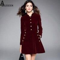 מעצב Vintage פרל שמלות אימפריה יין גולף שרוול ארוך באיכות גבוהה 2017 סתיו חורף אופנה שמלה אלגנטית קטיפה