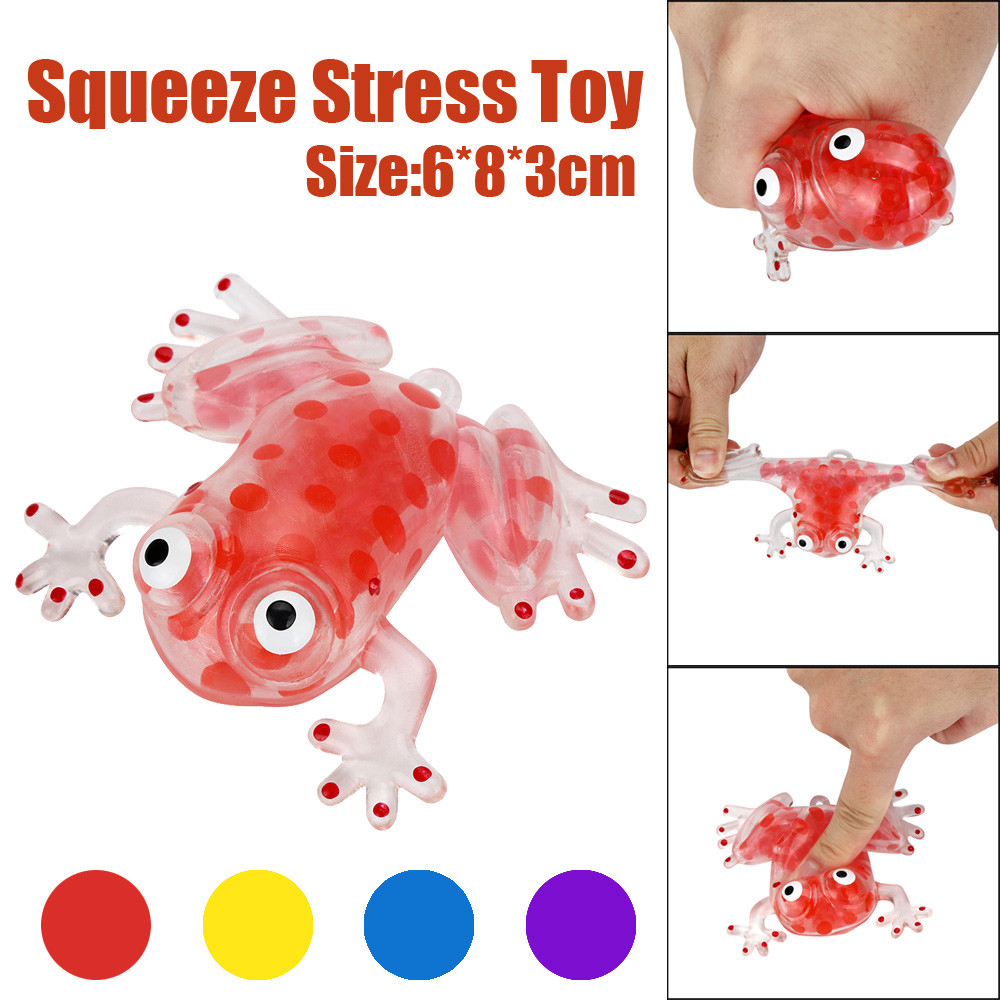 New Arrivals Novelty 6cm Bead Stress Ball Sticky Squeeze Frogs Squeezing can Stress Autism Mood Relief Toy For Kid Adult Gift